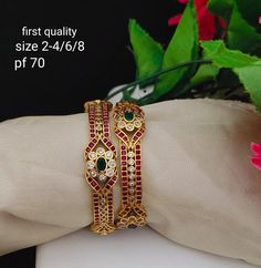 Traditional Bangles with Kemp stones Plain Gold Bangles, Ruby Bangles, Gold Bangles Design, Gold Earrings Designs, Necklace Designs, Diamond Jewellery, Silver Jewellery, Jewelery, Indian Wedding Jewelry