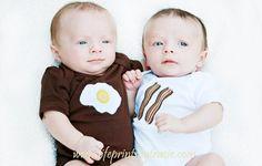 Twins Bacon Eggs Onesie Shirt Baby Boy. $32.50, via Etsy.