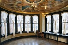 curtains Ceiling Murals, Leaded Glass Windows, Glass Room, Biblical Inspiration, Metal Planters, Drapery Rods, Sun Room, Beautiful Space, Custom Design