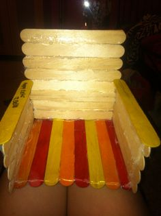 homemade american girl doll chair made from popsicle sticks and hot glue Ag Dolls, Girl Dolls, Ag Doll House, Sticks Furniture, Popsicle Sticks, Popsicles, American Girl, Homemade, Chair