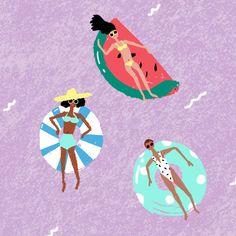 h a t & s o c k s — carolyn suzuki People Illustration, Illustration Girl, Illustrations, Summer Pictures, Pictures To Draw, Retro Swim, Mini Scrapbook Albums, Beautiful Artwork, Cute Drawings