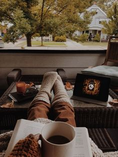a slow morning with pumpkin spice chai, cozy socks, fallen leaves, a good book, and the over the garden wall soundtrack 🌫🍂☕️🧦📖 here's a… Cozy Aesthetic, Autumn Aesthetic, Aesthetic Images, Rainy Street, Nothing Gold Can Stay, Autumn Leaves, Fallen Leaves, Over The Garden Wall, Dusk To Dawn