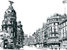 Foto Madrid, Urban Sketchers, Empire State Building, Vintage Posters, Art Inspo, Illustrators, Pop Art, Places To Visit, Drawings