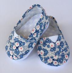 Floral Toms style shoes by MaddiesGirls on Etsy. Made following the Janes pattern. Find it here http://www.pixiefaire.com/products/janes-18-doll-shoes. #pixiefaire #janes