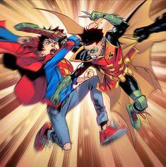 Super Sons by Jorge Jimenez Spiderman Vs Superman, Son Of Batman, Comic Book Artists, Comic Books, Demian Wayne, Comic Book Panels, Dungeons And Dragons Homebrew, Marvel X, Comic Styles