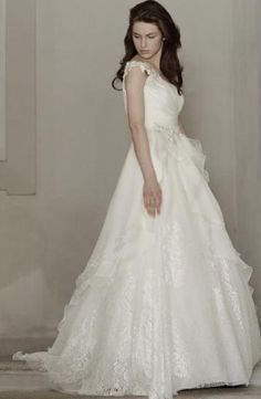 Scoop A-Line Wedding Dress  with Natural Waist in Chiffon. Bridal Gown Style Number:32826026