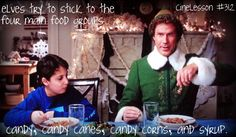 """""""elves try to stick to the four main food groups; candy, candy canes, candy corn, and syrup"""""""
