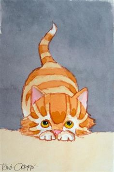 "Daily Paintworks - ""Pounce"" - Original Fine Art for Sale - © Toni Goffe"