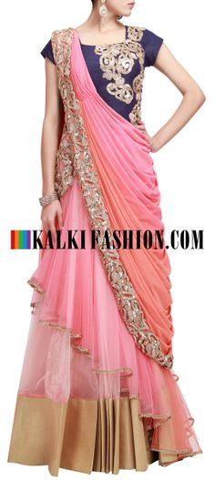 Buy Online from the link below. We ship worldwide (Free Shipping over US$100) http://www.kalkifashion.com/pre-stitched-embroidered-saree-gown-in-peach-and-pink-only-on-kalki.html Pre stitched embroidered saree gown in peach and pink only on Kalki