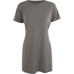 Gillian Short Sleeve Side Slit Top ($12) ❤ liked on Polyvore featuring tops, t-shirts, dark grey, slit top, round neck t shirt, side slit t shirt, oversized tops and oversized tee