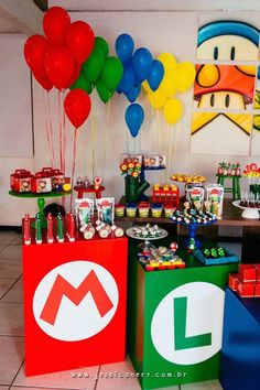 Check out this little-gamer-inspired Super Mario birthday party at Kara's Party Ideas! You can skip all the kitchy ideas found elsewhere--this amazing party is the best! Super Mario Party, Super Mario Bros, Super Mario Birthday, Mario Birthday Party, Super Mario Brothers, Birthday Ideas, 7th Birthday, Aaron Brothers, Nintendo Party