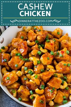 This cashew chicken is chunks of crispy chicken and roasted cashews tossed in a sweet and savory sauce. Serve over rice for the perfect easy dinner option! I always order cashew chicken from my favorite Slow Cooker Cashew Chicken, Chicken Cashew Stir Fry, Orange Cashew Chicken Recipe, Crispy Chicken, Asian Recipes, Healthy Recipes, Oriental Recipes, Asian Foods, Chinese Recipes