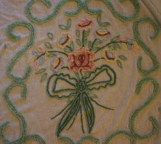 BIG Vintage Chenille Bedspread Mint Green Flower Basket Lovely 92 x 100 Cutter?