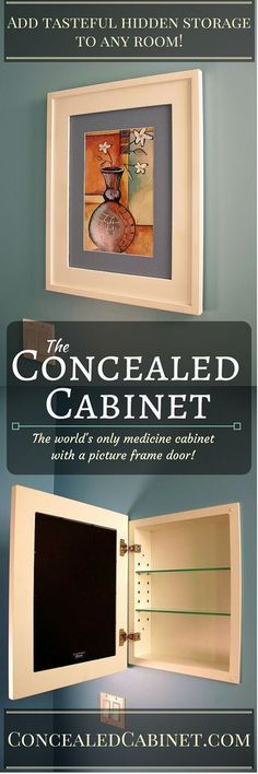 Once installed, our mirrorless medicine cabinets look & operate just like a picture frame hanging on your wall. Insert your own photographs or prints, & change them as often as you like. Want a pedestal sink in your bathroom remodel, but you're afraid to give up storage space? Put two or more picture frame medicine cabinets in your design without creating a house of mirrors! Available in 13 colors, 3 sizes, & 2 interior finishes. Also available in a wall-mount version & with optional mirror.