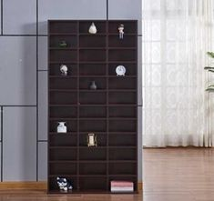 CD DVD Shelving Unit Storage Adjustable Shelf Rack Bluray Video Games Book Brown