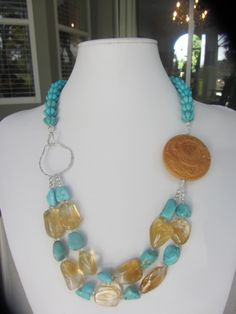 Hand Carved Melon Shaped Turquoise Beads Along With Turquoise  Citrine Nuggets. A Sterling Silver Hammered Round Connector Link  A Carved Wooden Asian Inspired Bead. Finished With A Lobster Claw Claps  Extender Chain. Find This Style  Other Designs On https://www.etsy.com/shop/JKCustomDesigns