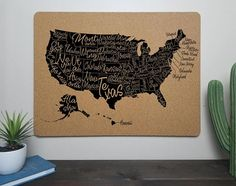 USA United States Labeled States Cork Map Travel Gift  Best