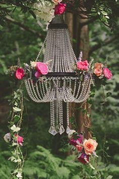 Gorgeous alter chandelier in this Secret Garden Wedding - http://fabyoubliss.com/2015/03/04/pennsylvania-secret-garden-wedding