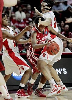 Turnovers, turnovers, turnovers. Good effort, though. I'm looking forward to next season.     Oklahoma Sooners' Sharane Campbell (24) tries to go between St. John's Red Storm's Eugeneia McPherson (22) and Mary Nwachukwu (24) as the University of Oklahoma Sooners (OU) play the St. John's Red Storm in the second round of the NCAA Women's Basketball Championship Tournament at the Lloyd Noble Center on Tuesday, March 20, 2012, in Norman, Okla.   Photo by Steve Sisney, The Oklahoman