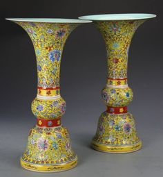 China, Famille Rose vase, vivid yellow ground, decorated with a dense pattern of auspicious symbols and floral elements. Height 14 in Asian Vases, Antique Vases, Turning Japanese, Oriental Furniture, Rose Vase, China Porcelain, Pottery Art, Objects, Chinese