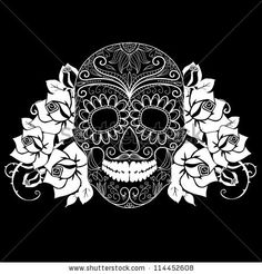 Skull And Roses Colorful Day Of The Dead Card Stock Vector 135791909 Shutterstock