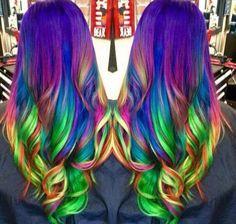 Neon rainbow hair by Amanda King. hotonbe… Neon rainbow hair by Amanda King. Bright Hair Colors, Hair Color Blue, Cool Hair Color, Colorful Hair, Women's Hair Colors, Multicolored Hair, Pelo Multicolor, Neon Hair, Beautiful Hair Color