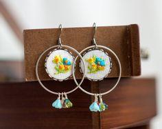 Dangle earrings  embroidered floral earrings  garden by skrynka, $40.00