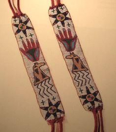 Osage garters. NMAI ac Native American Beadwork, Native American Tribes, Native Americans, American Indians, American Words, American Indian Art, Osage Indians, Osage Nation, Men's Clothing