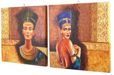 Canvas Paining - Hand-Painted Egyptian Imperials Panel in Multicolors – Wall-Art / Home Décor at SouvNear