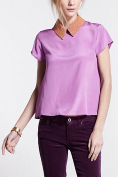 Beaded Swing Blouse #anthropologie  Every Fashionista needs a fun flirty colared shirt!