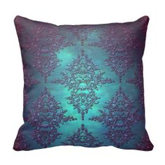 Shop Fancy Teal to Purple Damask Pattern Throw Pillow created by MHDesignStudio. Damask Decor, Plum Decor, Boho Decor, Throw Pillow Covers, Throw Pillows, Teal Pillows, Accent Pillows, Cushion Covers, Fancy