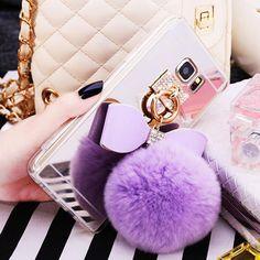 Rabbit Hair Fur Mirrored TPU Celular Phone Cases For Samsung Galaxy A3 A5 A7 J5 J7 2016 Cover Fluffy Ball Tassel Capa Fundas