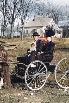 Pittsboro, Chatham County, North Carolina. 1892. Colorization by Steve Smith. #buggy #northcarolina #man #woman #child Colorized Historical Photos, Colorized History, Steve Smith, Genealogy, North Carolina, Southern, Child, Woman, Kid
