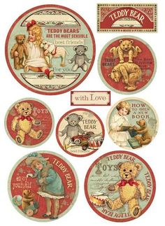 Rice Paper for Decoupage Decopatch Scrapbook Craft Sheet Christmas Teddy Bears Vintage Labels, Vintage Cards, Vintage Paper, Images Noêl Vintages, Images Vintage, Victorian Christmas, Vintage Christmas, Paper Toys, Paper Crafts