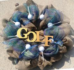 "Custom Wreaths... For all you golf lovers...  24"" please find me on Facebook https://www.facebook.com/media/set/?set=a.790096881061071.1073741828.788713587866067&type=3"