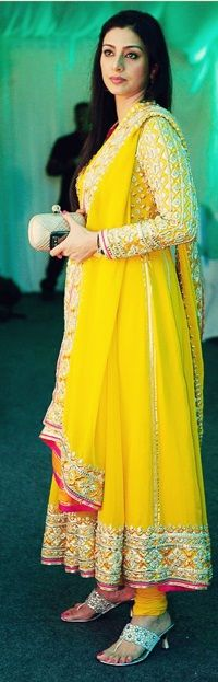 Tabu in bright yellow Anarkali with pink edging