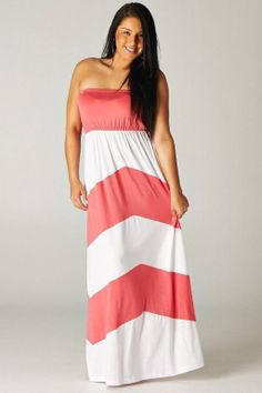 new ladies plus size chevron coral maxi dress in Welcome to Juliananna's Boutique!