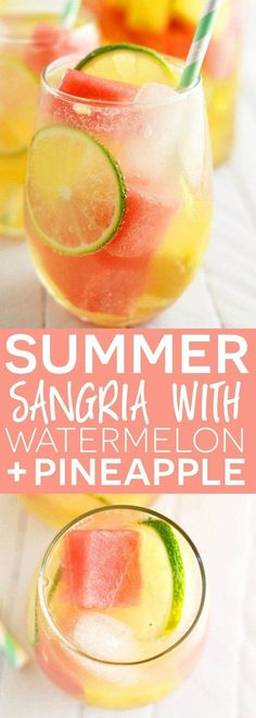 Sommer Sangria mit Wassermelone und Ananas - No Bake Gluten Free Desserts - Cocktails Party Drinks, Cocktail Drinks, Cocktail Recipes, Wine Recipes, Vodka Cocktails, Dishes Recipes, Punch Recipes, White Sangria Recipes, Healthy Sangria Recipe