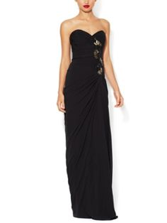 Silk Chiffon Gown with Beaded Embellishment from Designer Evening Gowns on Gilt