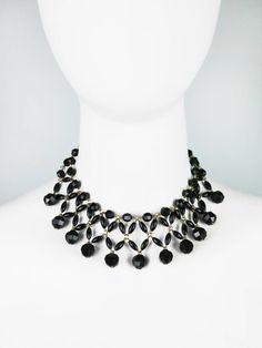 Schwarze eng anliegende #VintageKette #StatementKette #necklace - #VelvetVintage