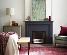 DIY Faux Fireplace. Build a 3 sided box. Add panelling as shown and paint in deep grey.