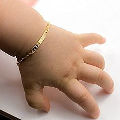 A Baby Name Bar Personalized Bracelet 16k Gold Plated Dainty Hand Stamp New Born To