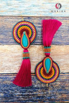 Fabric Earrings, Soutache Earrings, Boho Earrings, Textile Jewelry, Felt Ornaments, Beaded Embroidery, Handmade Necklaces, Romance Perfume, Tassels