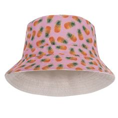 Pineapple Pink Design Printed Bucket Hat Pink Design 1235636e9864