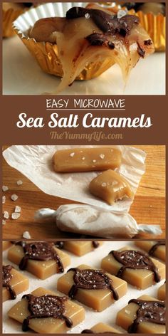 Microwave Sea Salt Caramels are fast and easy to make. Plain or drizzled with chocolate, they are chewy, gooey treats that everyone loves. From TheYummyLife.com