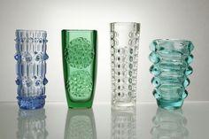 The creators of the phenomenon of Czechoslovak pressed glass were mainly three great experimenters Jurnikl Rudolf František Vízner and Vladislav Urban Mid Century Modern Art, Mid Century Design, Hamptons Decor, Art Of Glass, Retro Art, Glass Design, Czech Glass, Modernism, Perfume Bottles
