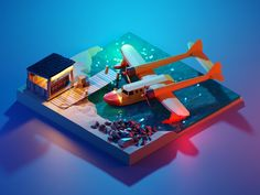 And once again, after a day comes night :) I didn't expect the Tale Spin theme to resonate so much, it was just something I really wanted to do and it's awesome to see that many of us share the sam. Game Design, 3d Design, Blender 3d, Low Poly, Isometric Art, Isometric Design, Sea Wallpaper, Modelos 3d, Up Book