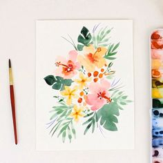 How to paint loose watercolor florals like these tropical leaves and hibiscus flowers. Learn to paint flowers with these easy to f How To Draw Painting, Watercolor Painting Techniques, Easy Watercolor, Watercolour Tutorials, Watercolor Cards, Floral Watercolor, Watercolor Paintings, Painting Art, Watercolor Flowers Tutorial