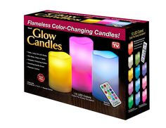 Glow Candles - Flameless Color-Changing Candles, 3 Battery-operated LED Pillar Candles with Remote (Real Wax) ** Want to know more, click on the image.