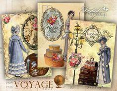 Voyage conjunto de folhas colagem digital de 8 por bydigitalpaper no Etsy